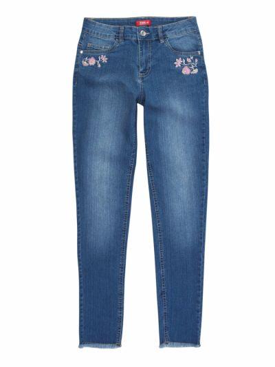 Spodnie Spodnie jeansowe z modną aplikacją S