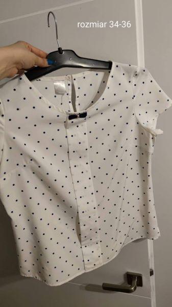 Bluzki Sprzedania elegancka bluzke w kropki z kokardka
