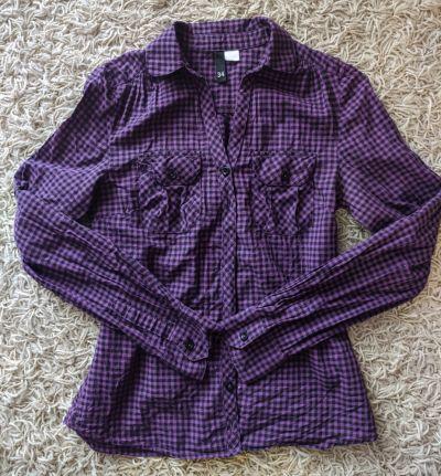 Koszule fioletowa koszula w kratkę xs