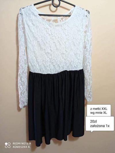 Suknie i sukienki Sukienka xl xxl koronka elegancka długi rękaw