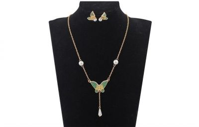 Komplety Motyle komplet biżuterii emalia i perły
