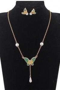 Motyle komplet biżuterii emalia i perły...