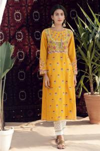 Nowa sukienka tunika indyjska L 40 żółta haftowana kwiaty boho ...