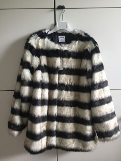 Odzież wierzchnia Futrzany płaszcz futro w paski