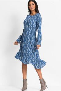 Niebieska asymetryczna sukienka z falbanką...