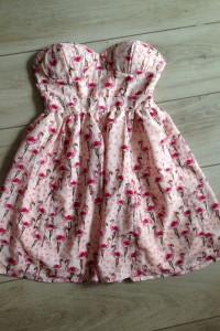 Różowa sukienka Miso flamingi XS S...