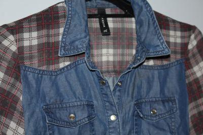 Koszule Jeansowa koszula z rękawami z motywem kraty firma Reserved