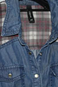Jeansowa koszula z rękawami z motywem kraty firma Reserved
