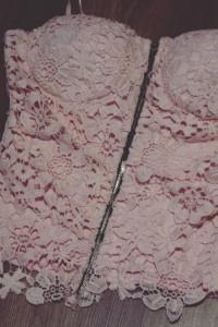 Gorsetowa bluzka bralet unikatowa Hit pastelowy pudrowy