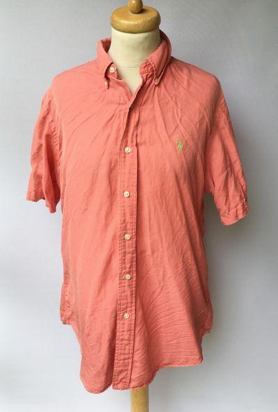 Koszule Koszula Ralph Lauren L Czerwona Custom Fit Krótki Rękaw