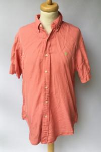 Koszula Ralph Lauren L Czerwona Custom Fit Krótki Rękaw