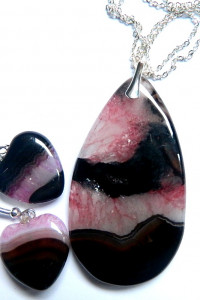 Zestaw biżuterii z naturalnymi kamieniami agaty w srebrze...