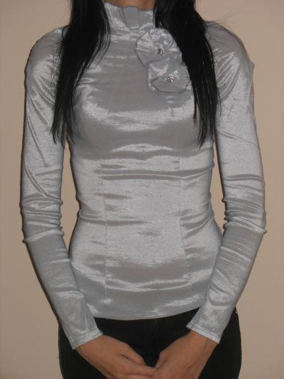 Koszule Elegancka szara koszula stójka kwiatki XXS XS