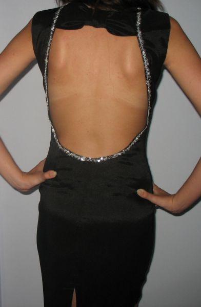 Suknie i sukienki Czarna obcisła sukienka wycięte plecy cekiny XS 34
