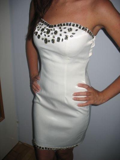 Suknie i sukienki Kremowa obcisła gorsetowa sukienka XS S 34 36