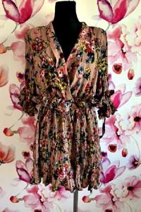 prettylittlething sukienka plisowana modny wzór kwiaty nowa 38...