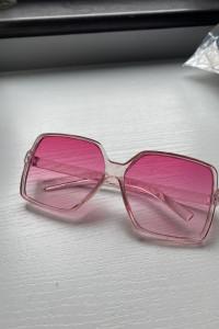 Różowe kwadratowe nowe okulary różowe ombre pudrowe damskie