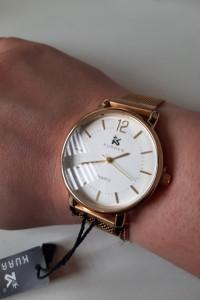 Zegarek analogowy biała tarcza magnetyczna bransoleta kolor złoty