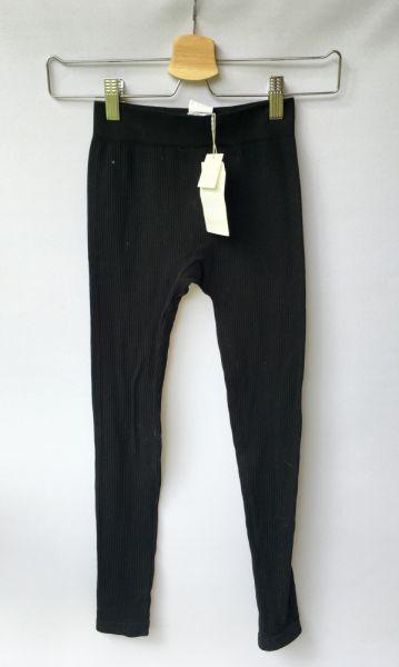 Legginsy Legginsy Czarne Pull&Bear XS 34 Spodnie Prążkowane Prążki
