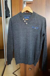 Męski sweter szary grafitowy melanż Reserved w serek rozmiar S