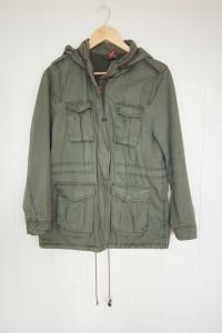Zielona kurtka parka H&M 38 M militarna bawełniana kieszenie ca...