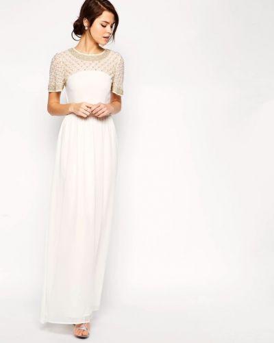 Suknie i sukienki Sukienka biała maxi bogato zdobiona ślubna styl vintage boho folk