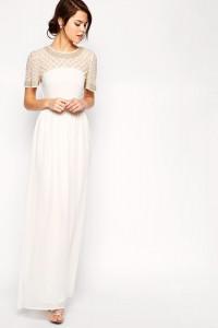 Sukienka biała maxi bogato zdobiona ślubna styl vintage boho fo...
