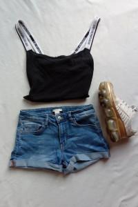 Krótkie spodenki szorty jeansowe z wysokim stanem z mankietami S h&m