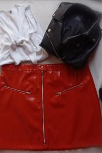 Spodnica skórzana lateksowa z wysokim stanem sexy plus size bły...