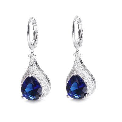Kolczyki Nowe kolczyki wiszące łezki eleganckie srebrny kolor niebieski granatowy kamień królewskie
