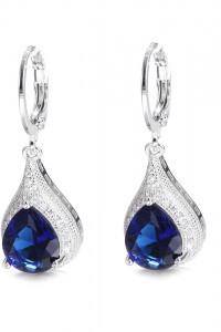 Nowe kolczyki wiszące łezki eleganckie srebrny kolor niebieski ...