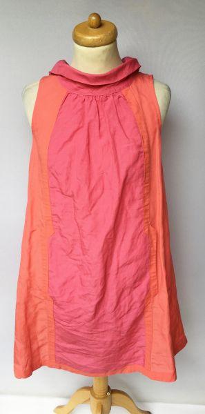 Suknie i sukienki Sukienka H&M Różowa Len M 38 Lniana Letnia Róż Rozkloszowana