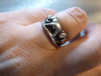 Pierścionki srebrny pierścionek słoń