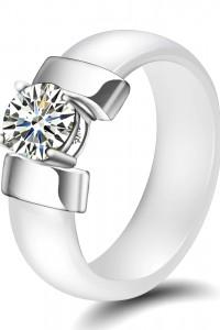 Nowy biały pierścionek ceramiczny obrączka prosty z cyrkonią bi...