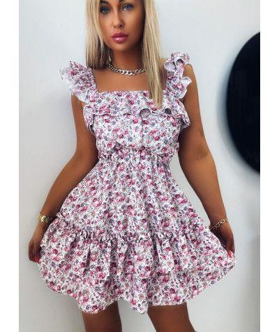 Suknie i sukienki Sukienka Flower Z Falbankami White