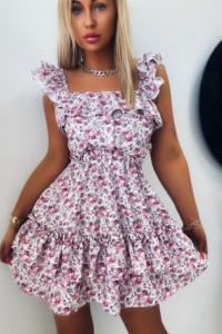 Sukienka Flower Z Falbankami White...