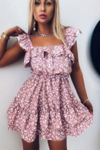 Sukienka Flower Z Falbankami Pink...