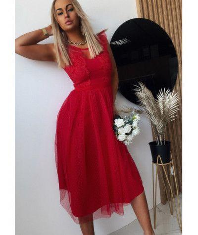 Suknie i sukienki Sukienka Koronkowa Luxury Czerwona