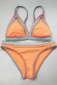 Strój Kostium Kąpielowy Neonowy Pomarańczowy S 36 Neon