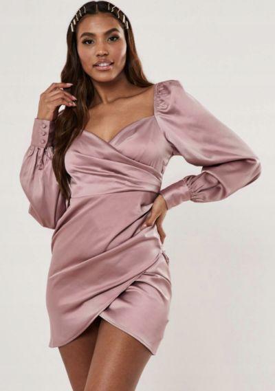 Suknie i sukienki sukienka satynowa brudny róż różowa milkmaid z bufiastymi rękawami 38 M missguided