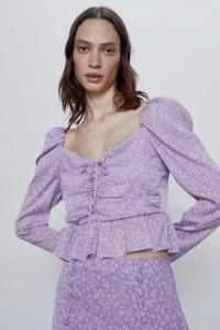 liliowa bluzka koszula z baskinką fioletowa kwiaty kwiatki floral cottagecore XS 34 zara