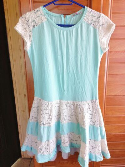 Suknie i sukienki Miętowa sukienka z koronką
