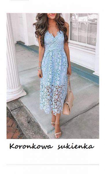Suknie i sukienki Nowa koronkowa sukienka midi S M na ramiączkach wesele studniówka impreza komunia chrzest