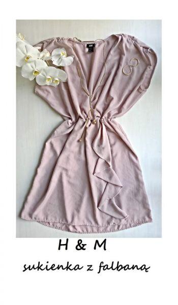 Suknie i sukienki Liliowa sukienka kopertowy dekolt falbana M L wesele impreza hit lato