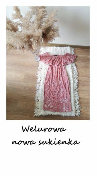 Suknie i sukienki Zjawiskowa nowa sukienka Shein S M welurowa ołówkowa na wesele