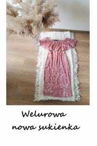 Zjawiskowa nowa sukienka Shein S M welurowa ołówkowa na wesele...
