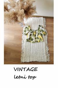 Bawełniany crop top w cytrynki S M vintage bawełna...