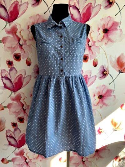 Suknie i sukienki atmosphere sukienka ala jeansowa rozkloszowana groszki nowa 38