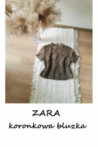 Elegancka koronkowa bluzka ZARA khaki M L...