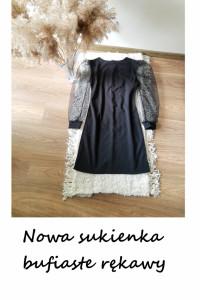 Nowa sukienka balonowe bufiaste rękawy L XL mała czarna basic m...